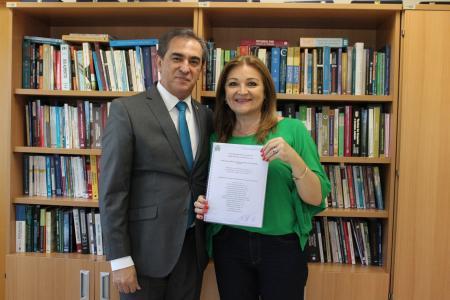 Presidente Neca com o juiz diretor do Foro de Lajeado, Luis Antônio de Abreu Johnson.