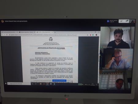 Mais uma vez os parlamentares utilizaram a ferramenta Hangouts Meet para debater os projetos durante a reunião das Comissões da Casa.